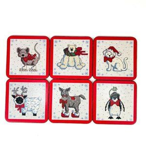 Vintage Pimpernel Beverage Coasters Winter Animal